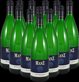 Manz Weißer Burgunder trocken Liter Rheinhessen 12er Angebot