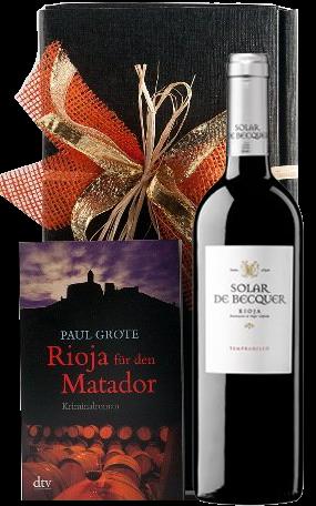 Weinpräsent Rioja für den Matador Paul Grote Weinkrimi mit Rotwein
