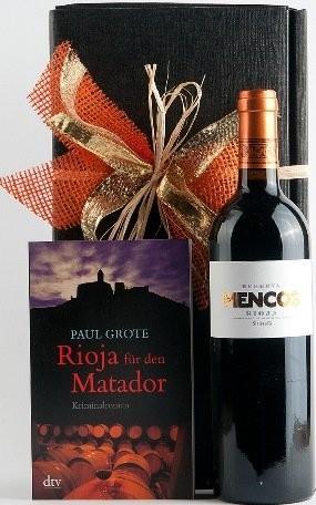 Weinpräsent Rioja für den Matador Paul Grote Weinkrimi mit Rotwe