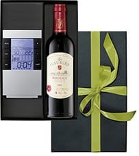 Weinpräsent Bordeaux Rotwein mit Wetterstation versandkostenfrei