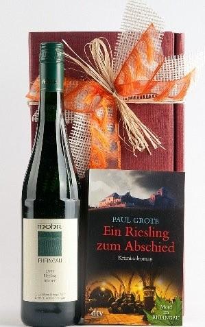 Weinpräsent Riesling zum Abschied Paul Grote Weinkrimi mit Weißw